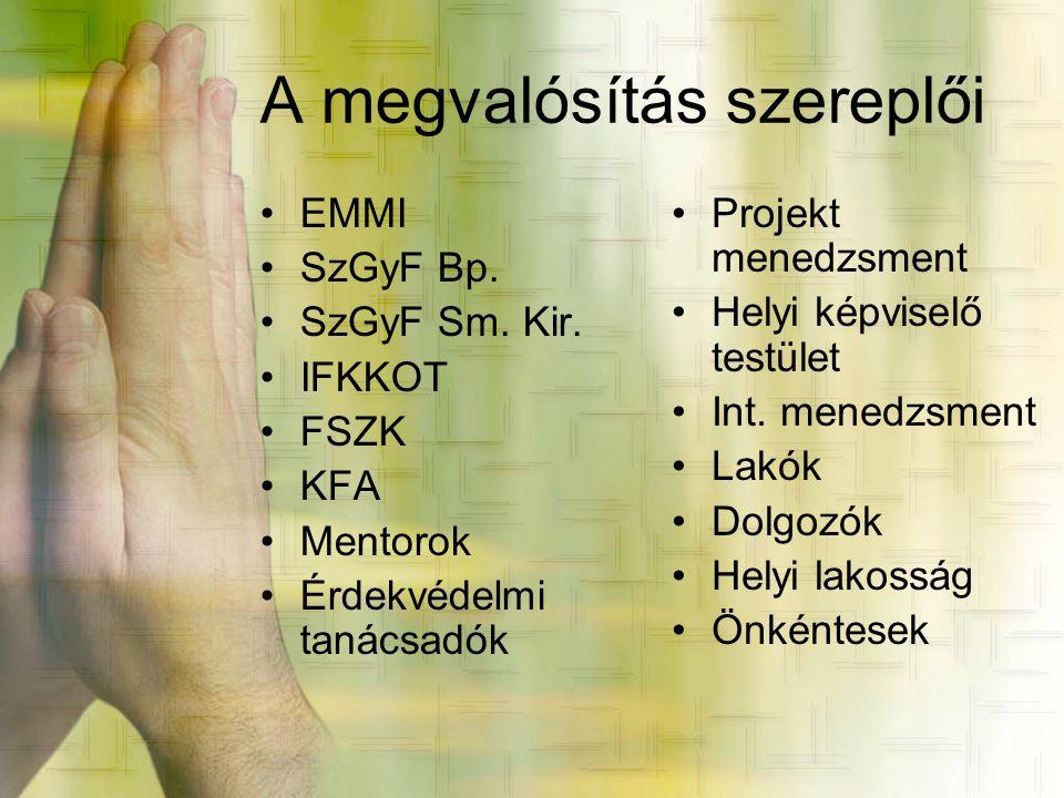 A megvalósítás szereplői •EMMI •SzGyF Bp. •SzGyF Sm. Kir. •IFKKOT •FSZK •KFA •Mentorok •Érdekvédelmi tanácsadók •Projekt menedzsment •Helyi képviselő
