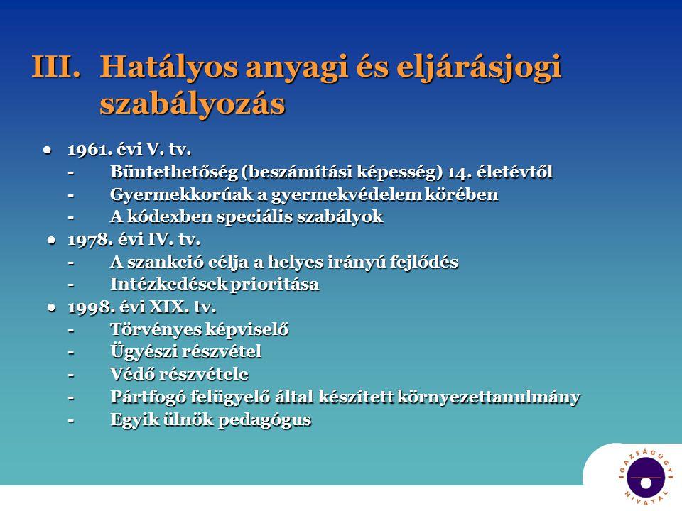 III.Hatályos anyagi és eljárásjogi szabályozás ●1961.