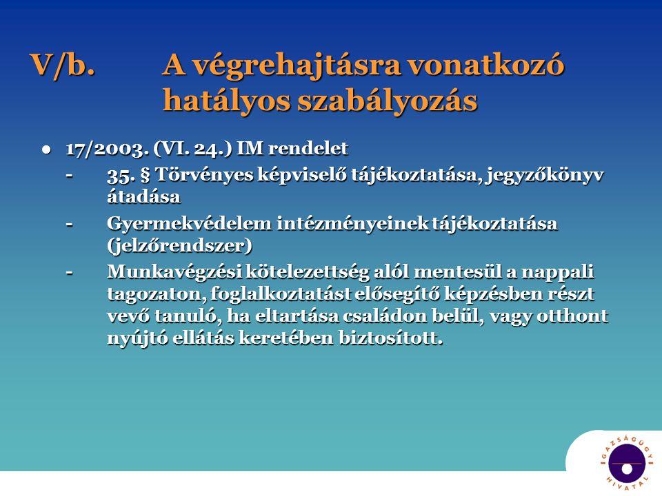 V/b.A végrehajtásra vonatkozó hatályos szabályozás ●17/2003.
