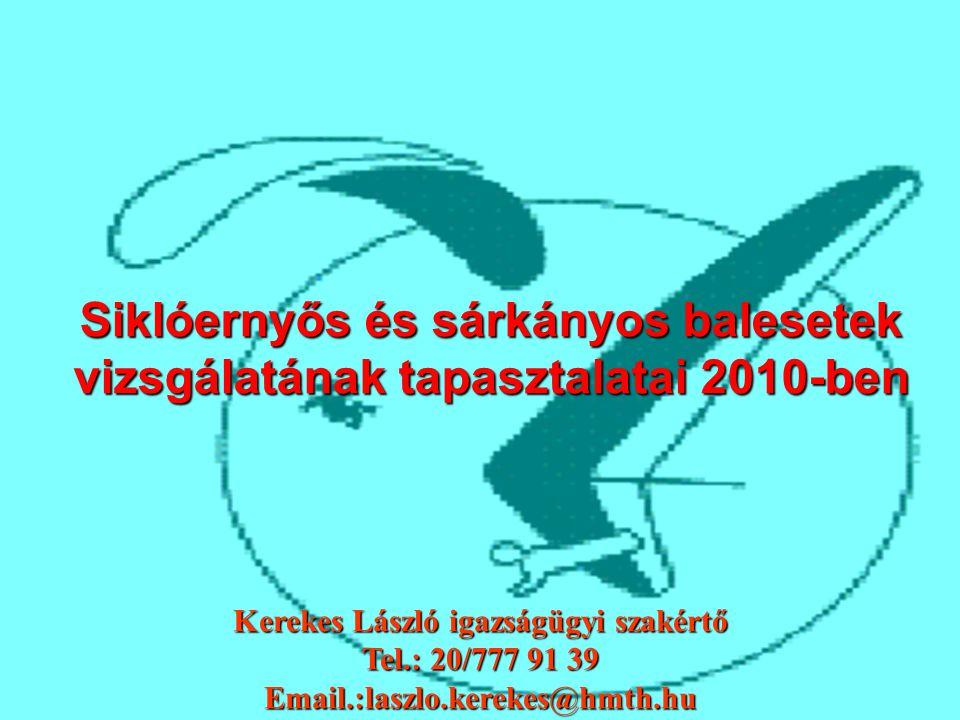 Siklóernyős és sárkányos balesetek vizsgálatának tapasztalatai 2010-ben Kerekes László igazságügyi szakértő Tel.: 20/777 91 39 Email.:laszlo.kerekes@h