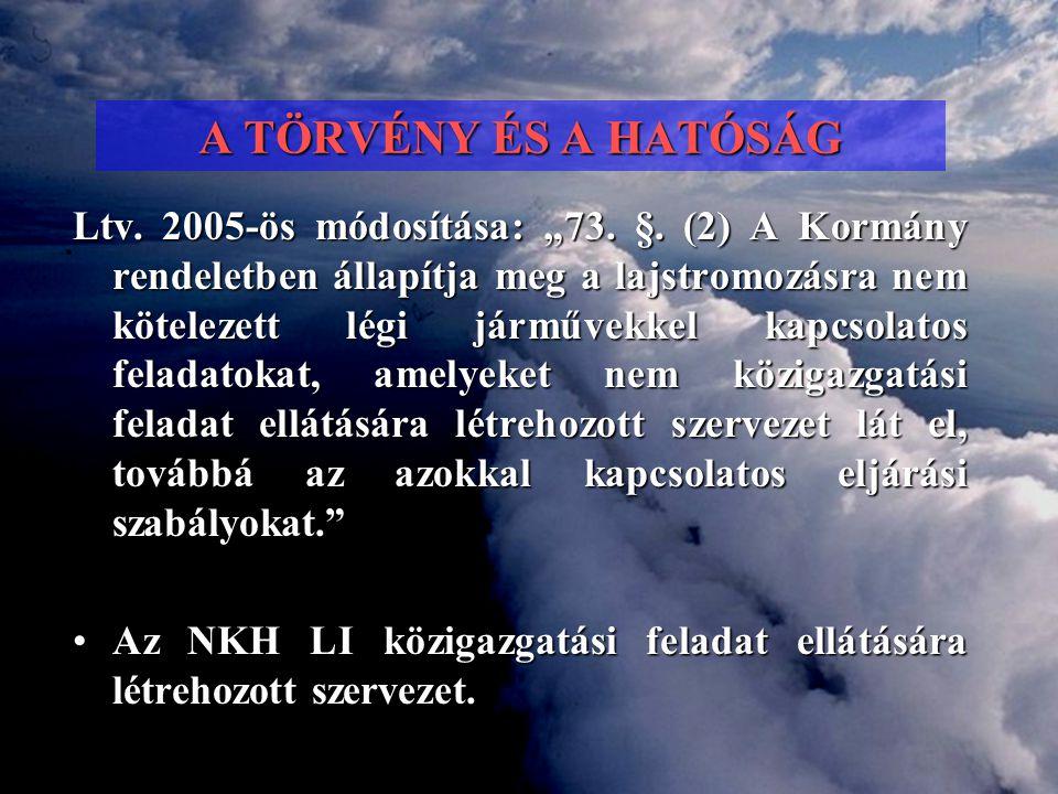 """A TÖRVÉNY ÉS A HATÓSÁG Ltv. 2005-ös módosítása: """"73. §. (2) A Kormány rendeletben állapítja meg a lajstromozásra nem kötelezett légi járművekkel kapcs"""