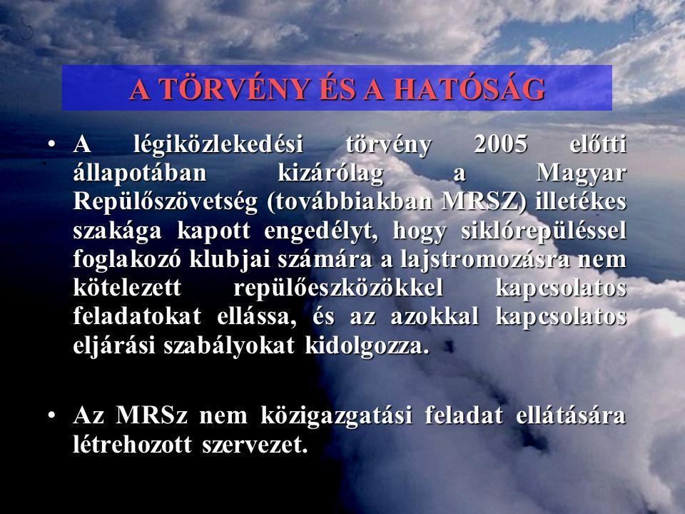 A TÖRVÉNY ÉS A HATÓSÁG •A légiközlekedési törvény 2005 előtti állapotában kizárólag a Magyar Repülőszövetség (továbbiakban MRSZ) illetékes szakága kap