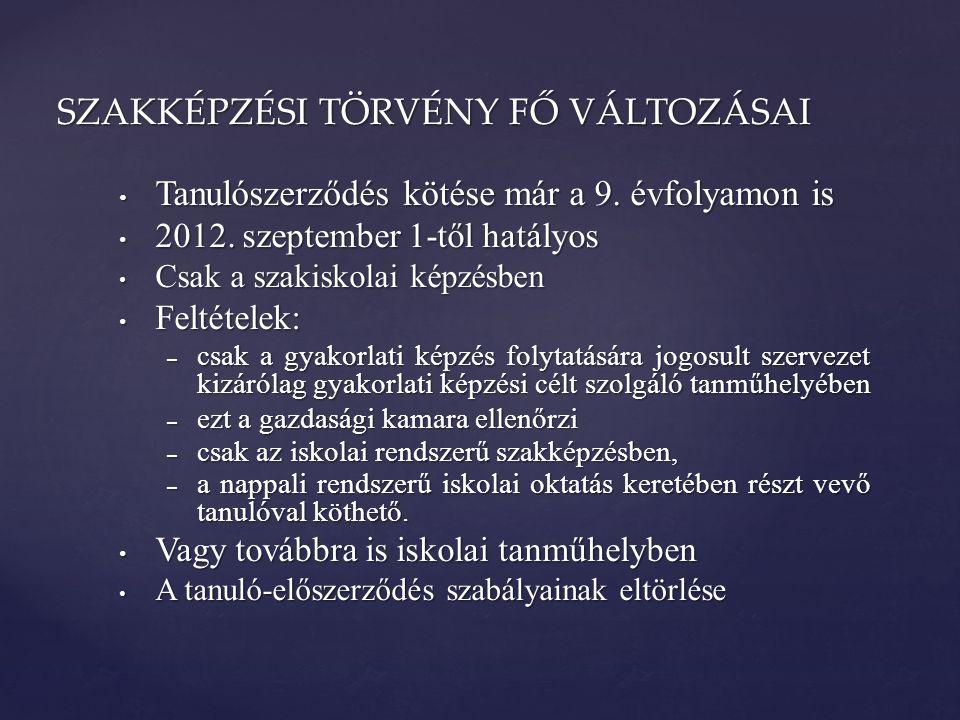 • Tanulószerződés kötése már a 9. évfolyamon is • 2012. szeptember 1-től hatályos • Csak a szakiskolai képzésben • Feltételek: – csak a gyakorlati kép