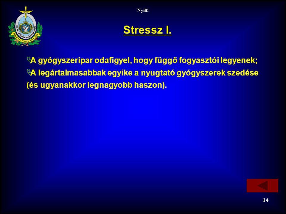 Nyílt! 14 Stressz I.  A gyógyszeripar odafigyel, hogy függő fogyasztói legyenek;  A legártalmasabbak egyike a nyugtató gyógyszerek szedése (és ugyan