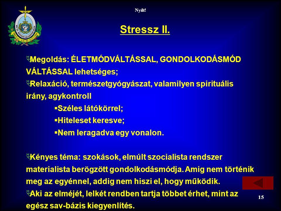 Nyílt! 15 Stressz II.  Megoldás: ÉLETMÓDVÁLTÁSSAL, GONDOLKODÁSMÓD VÁLTÁSSAL lehetséges;  Relaxáció, természetgyógyászat, valamilyen spirituális irán