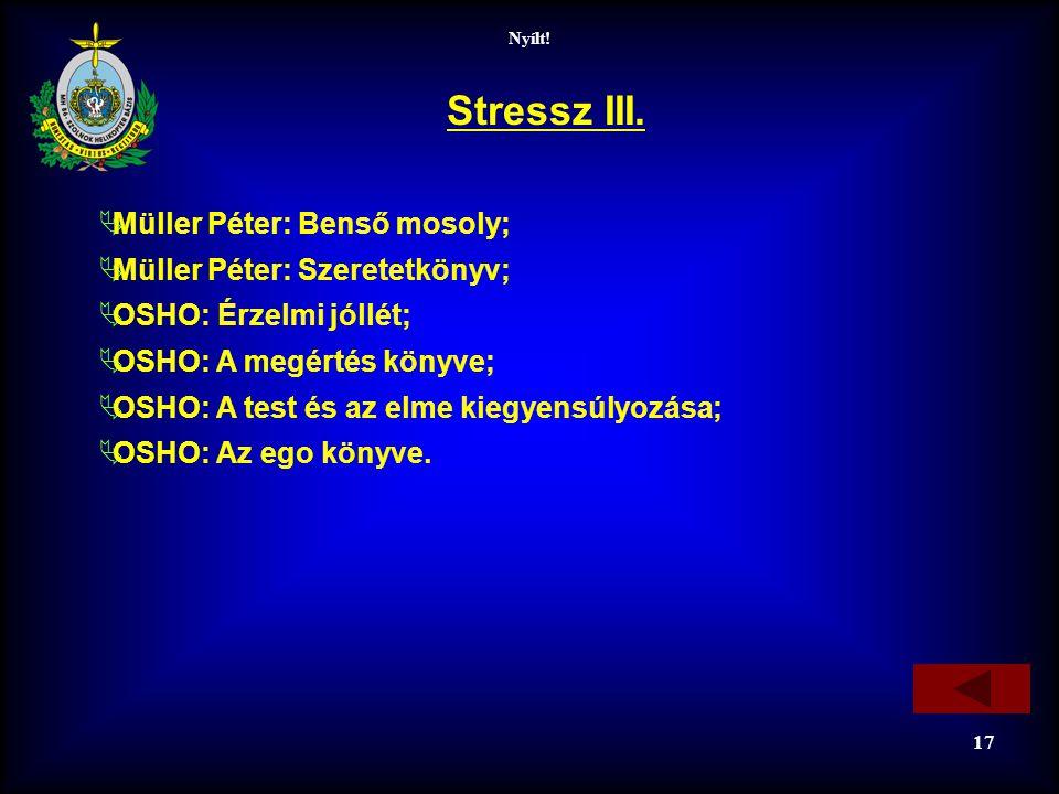 Nyílt! 17 Stressz III.  Müller Péter: Benső mosoly;  Müller Péter: Szeretetkönyv;  OSHO: Érzelmi jóllét;  OSHO: A megértés könyve;  OSHO: A test