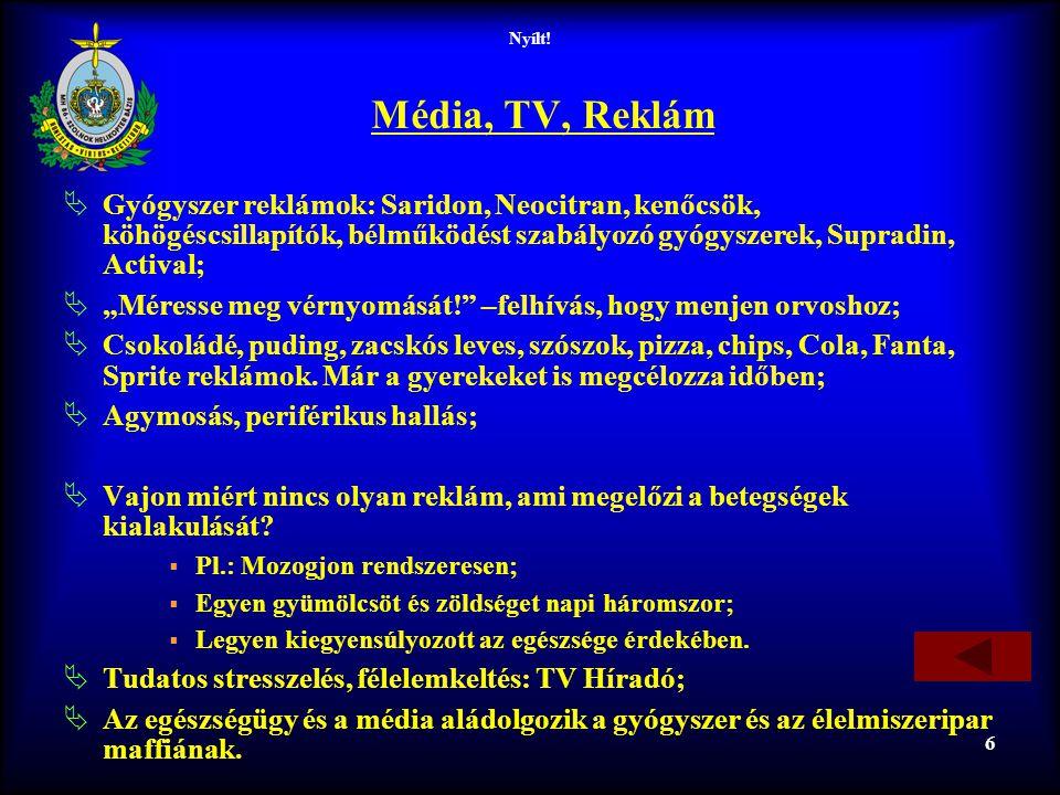 Nyílt! 6 Média, TV, Reklám  Gyógyszer reklámok: Saridon, Neocitran, kenőcsök, köhögéscsillapítók, bélműködést szabályozó gyógyszerek, Supradin, Activ