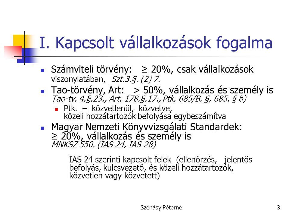 Szénásy Péterné3 I. Kapcsolt vállalkozások fogalma  Számviteli törvény: ≥ 20%, csak vállalkozások viszonylatában, Szt.3.§. (2) 7.  Tao-törvény, Art: