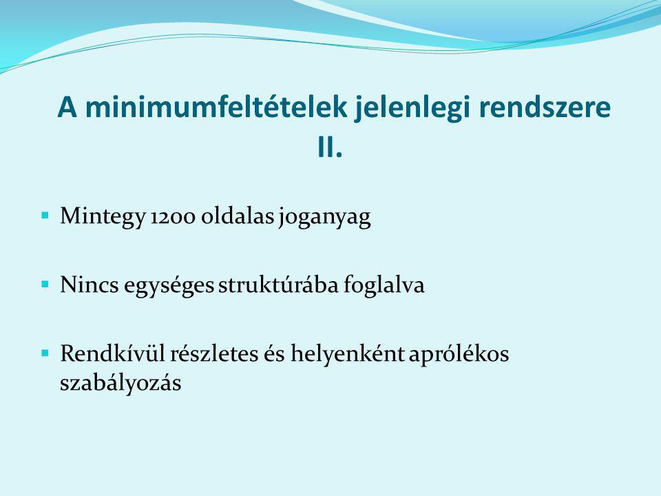 A minimumfeltételek jelenlegi rendszere II.
