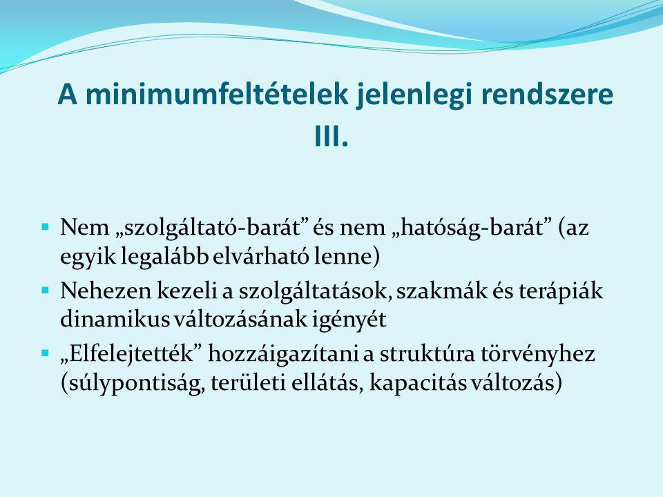A minimumfeltételek jelenlegi rendszere III.