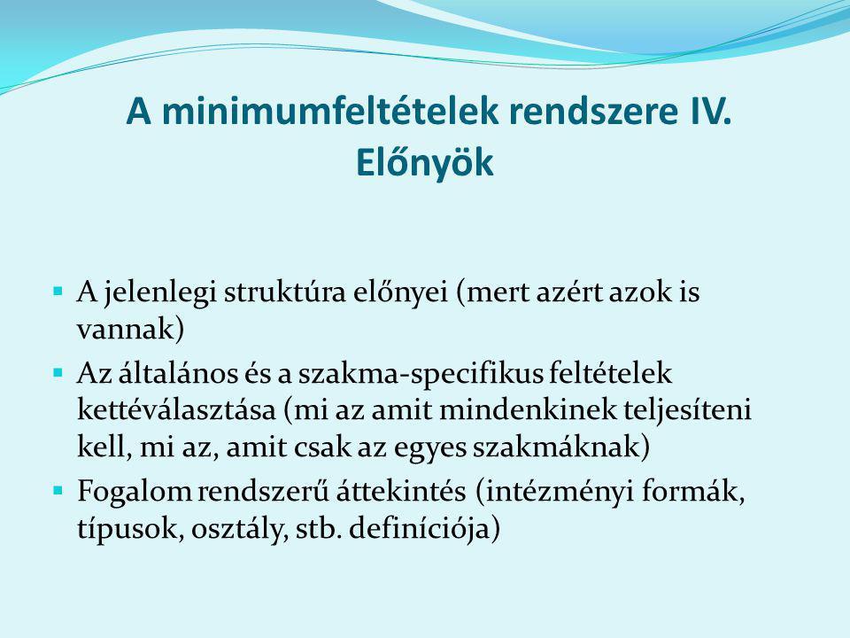 A minimumfeltételek rendszere IV.