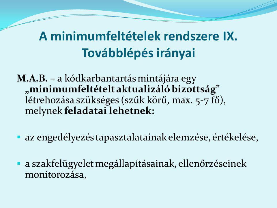 A minimumfeltételek rendszere IX. Továbblépés irányai M.A.B.
