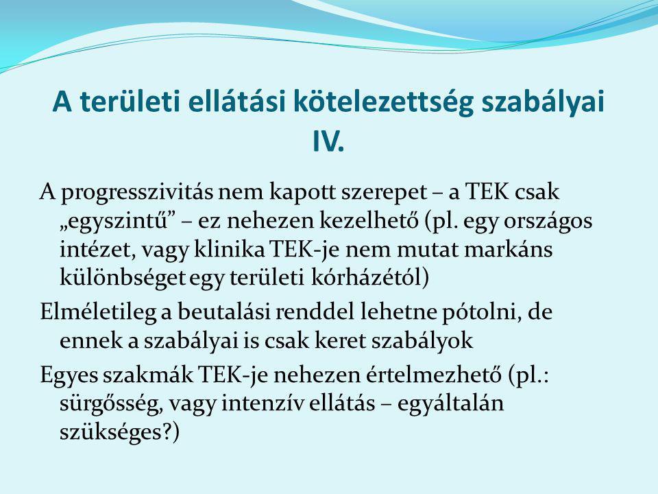 A területi ellátási kötelezettség szabályai IV.