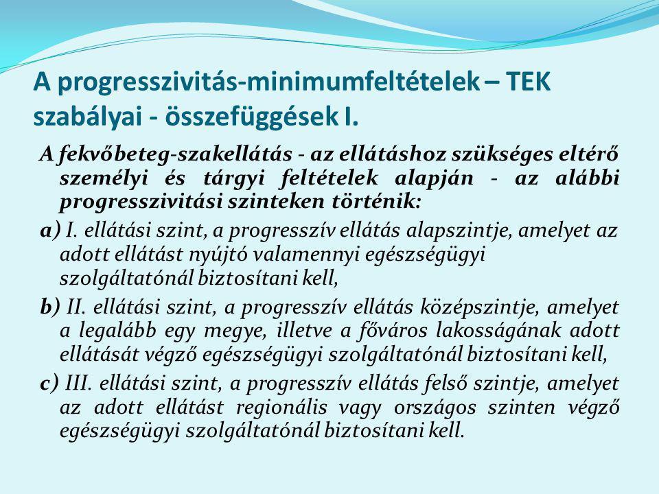 A progresszivitás-minimumfeltételek – TEK szabályai - összefüggések I.