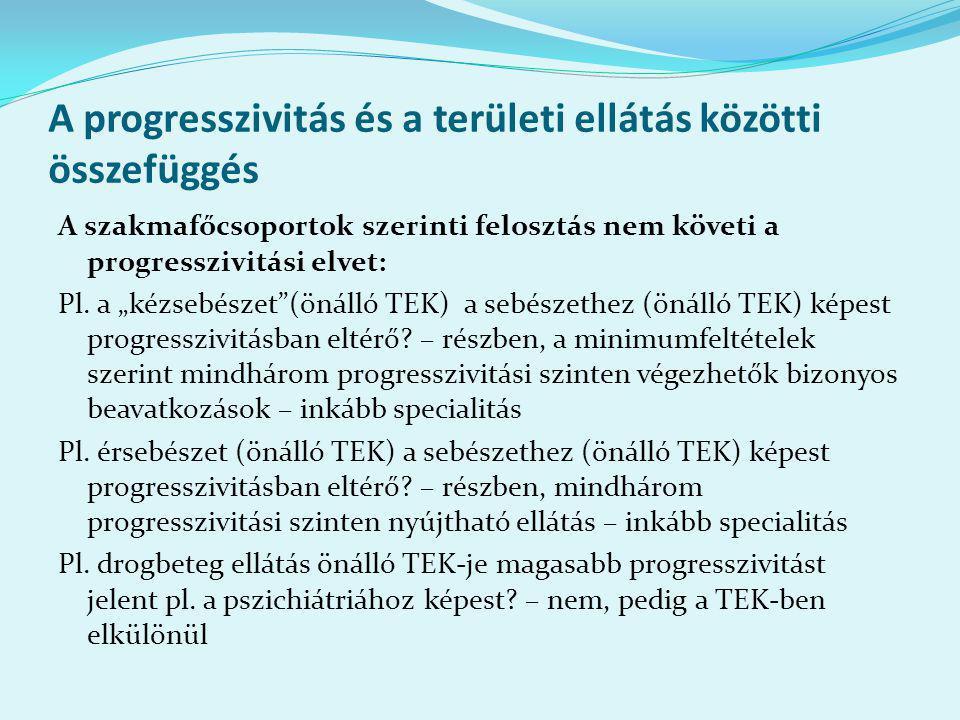 A progresszivitás és a területi ellátás közötti összefüggés A szakmafőcsoportok szerinti felosztás nem követi a progresszivitási elvet: Pl.