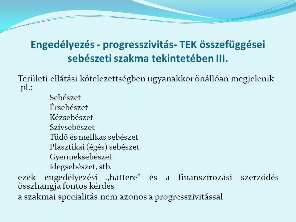 Engedélyezés - progresszivitás- TEK összefüggései sebészeti szakma tekintetében III.