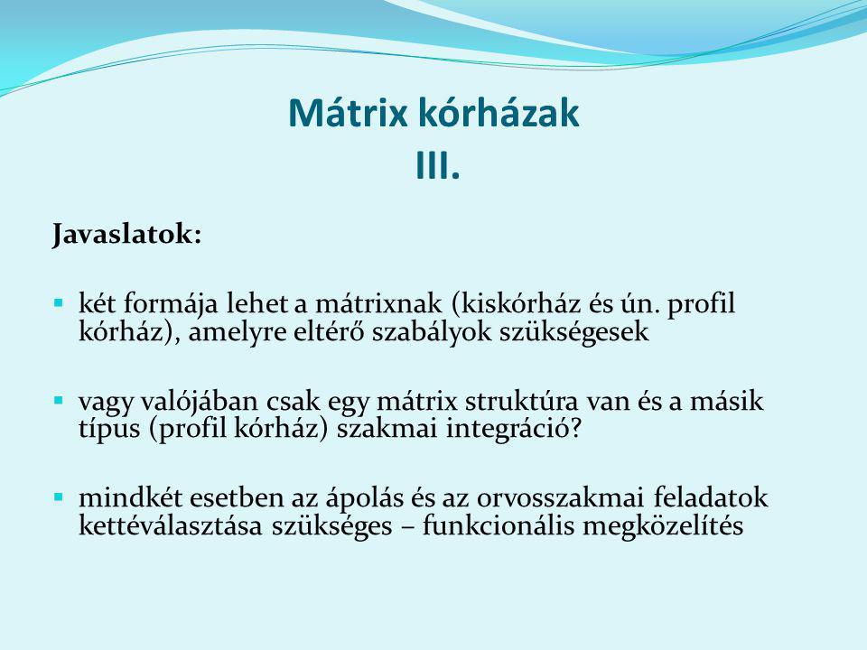Mátrix kórházak III. Javaslatok:  két formája lehet a mátrixnak (kiskórház és ún.