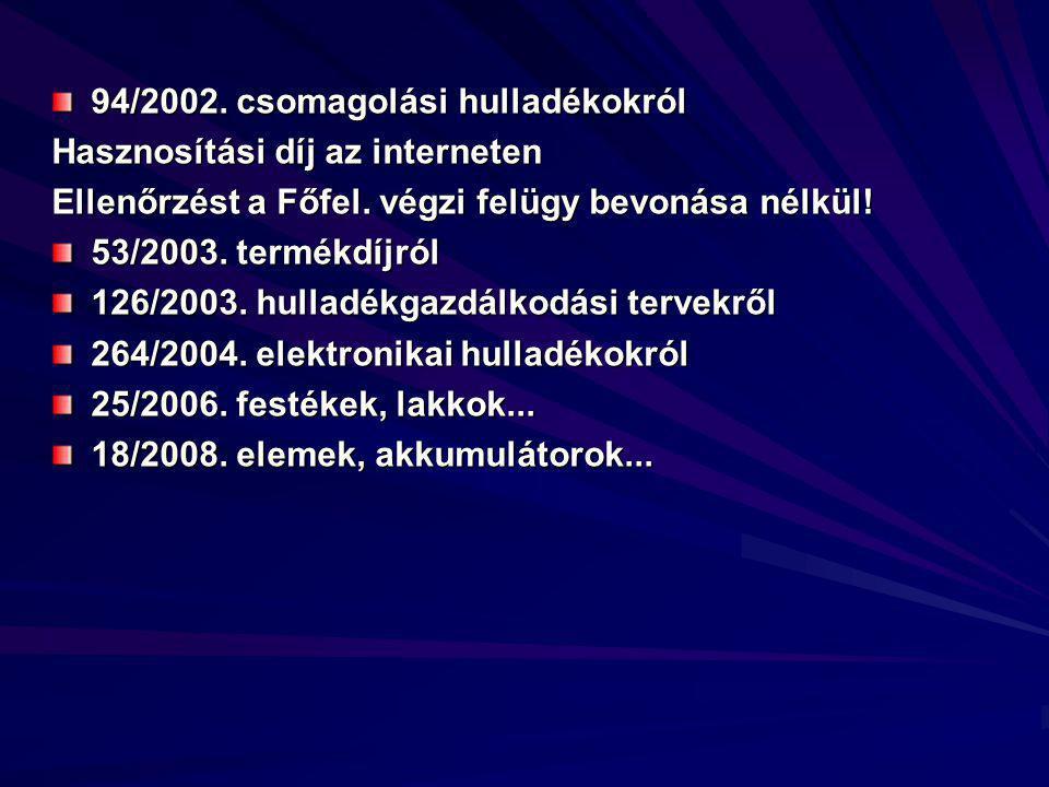 94/2002. csomagolási hulladékokról Hasznosítási díj az interneten Ellenőrzést a Főfel.