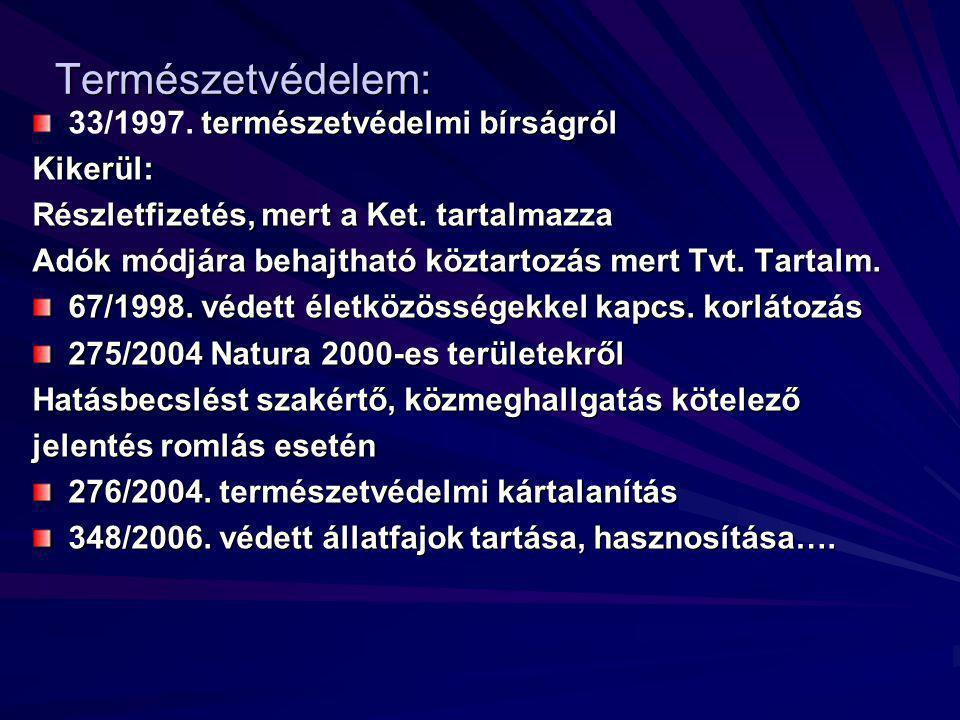Természetvédelem: természetvédelmi bírságról 33/1997.