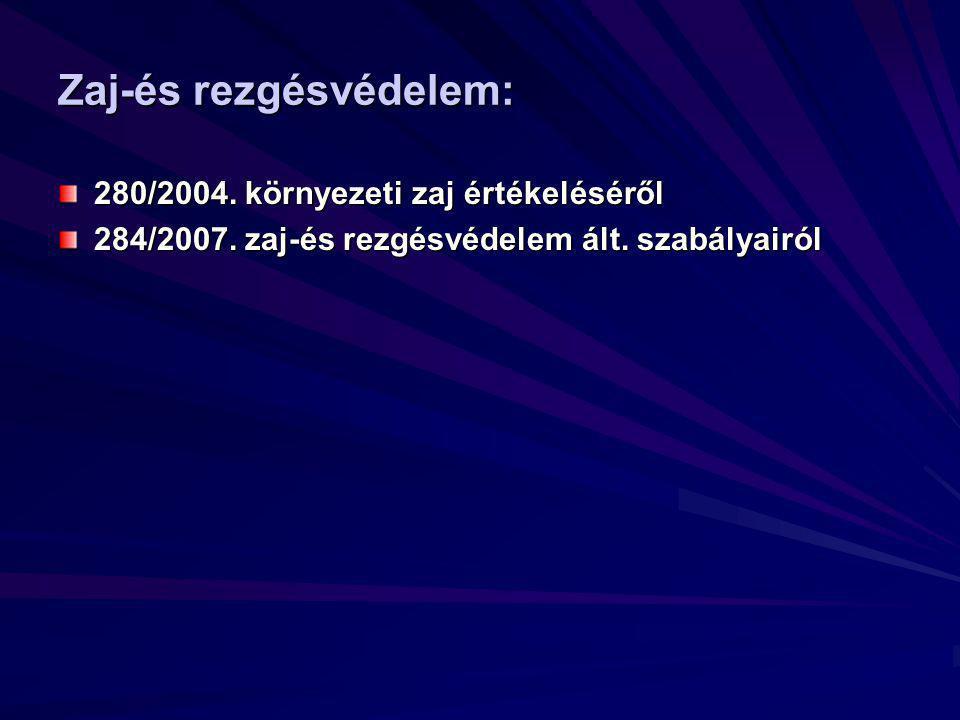 Zaj-és rezgésvédelem: 280/2004. környezeti zaj értékeléséről 284/2007.