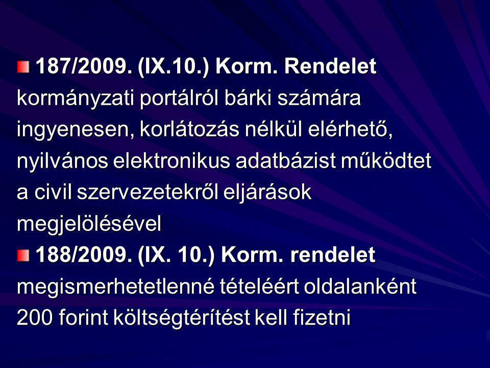 187/2009. (IX.10.) Korm.
