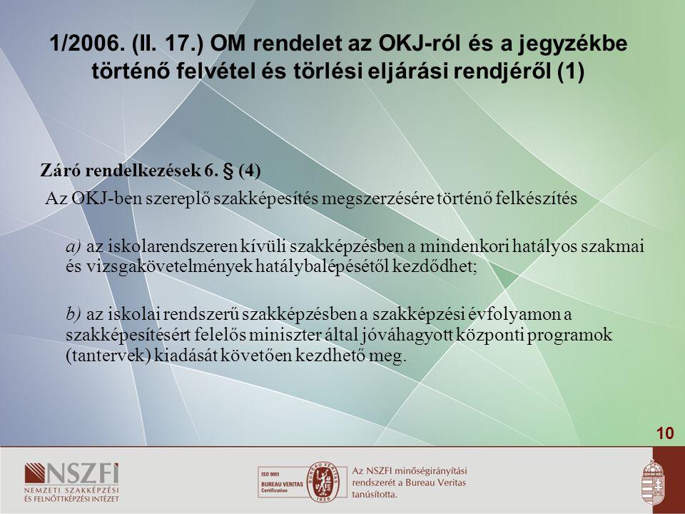 10 1/2006. (II. 17.) OM rendelet az OKJ-ról és a jegyzékbe történő felvétel és törlési eljárási rendjéről (1) Záró rendelkezések 6. § (4) Az OKJ-ben s
