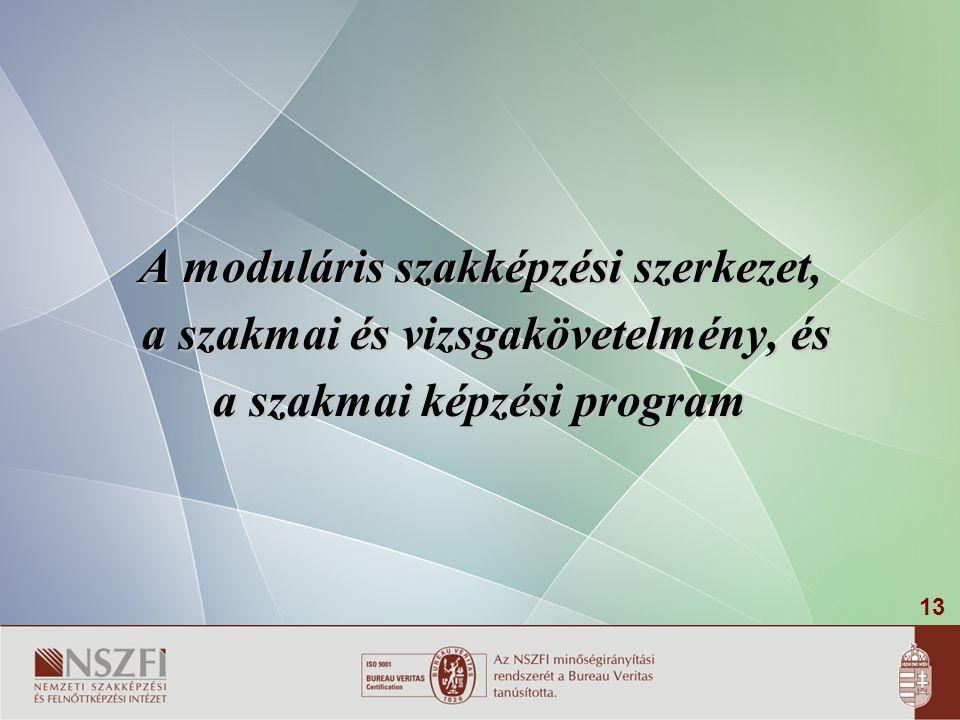 13 A moduláris szakképzési szerkezet, a szakmai és vizsgakövetelmény, és a szakmai és vizsgakövetelmény, és a szakmai képzési program