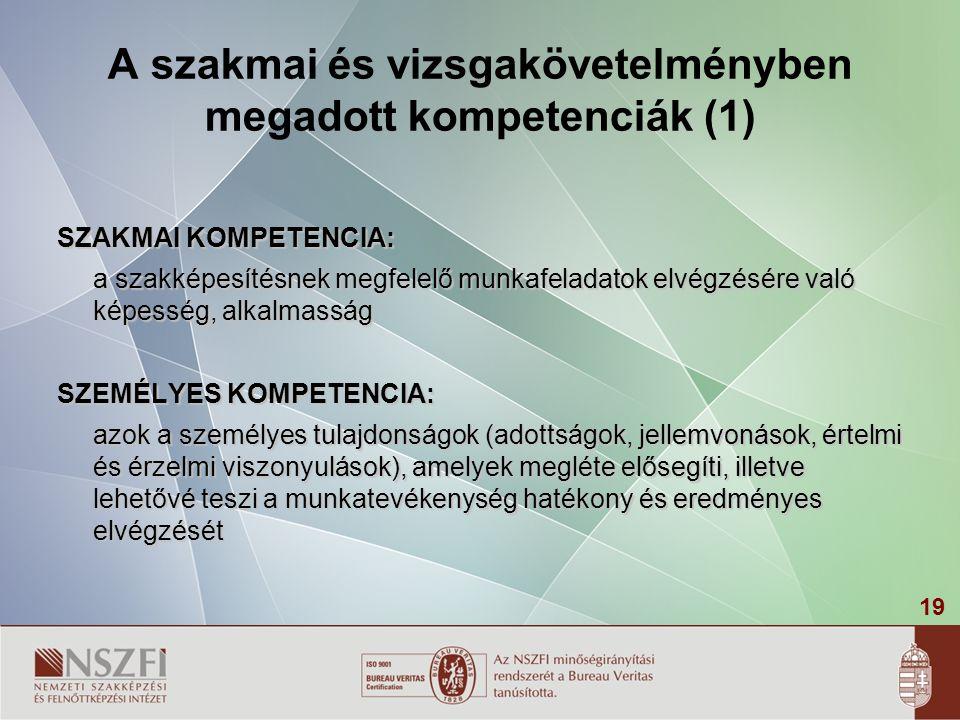 19 A szakmai és vizsgakövetelményben megadott kompetenciák (1) SZAKMAI KOMPETENCIA: a szakképesítésnek megfelelő munkafeladatok elvégzésére való képesség, alkalmasság SZEMÉLYES KOMPETENCIA: azok a személyes tulajdonságok (adottságok, jellemvonások, értelmi és érzelmi viszonyulások), amelyek megléte elősegíti, illetve lehetővé teszi a munkatevékenység hatékony és eredményes elvégzését