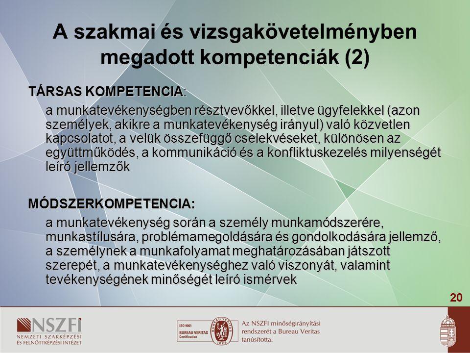20 A szakmai és vizsgakövetelményben megadott kompetenciák (2) TÁRSAS KOMPETENCIA: a munkatevékenységben résztvevőkkel, illetve ügyfelekkel (azon szem