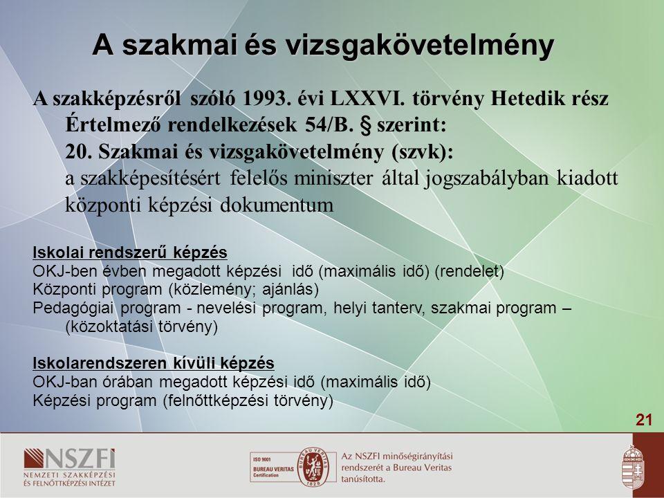21 A szakmai és vizsgakövetelmény A szakképzésről szóló 1993. évi LXXVI. törvény Hetedik rész Értelmező rendelkezések 54/B. § szerint: 20. Szakmai és