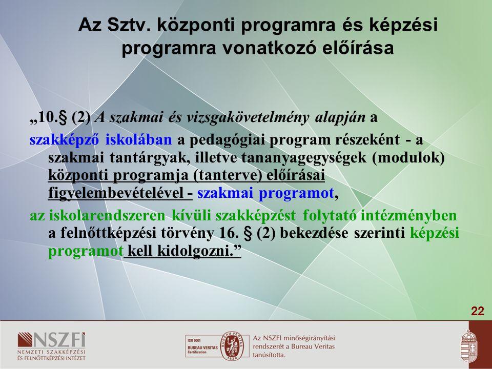 """22 Az Sztv. központi programra és képzési programra vonatkozó előírása """"10.§ (2) A szakmai és vizsgakövetelmény alapján a szakképző iskolában a pedagó"""