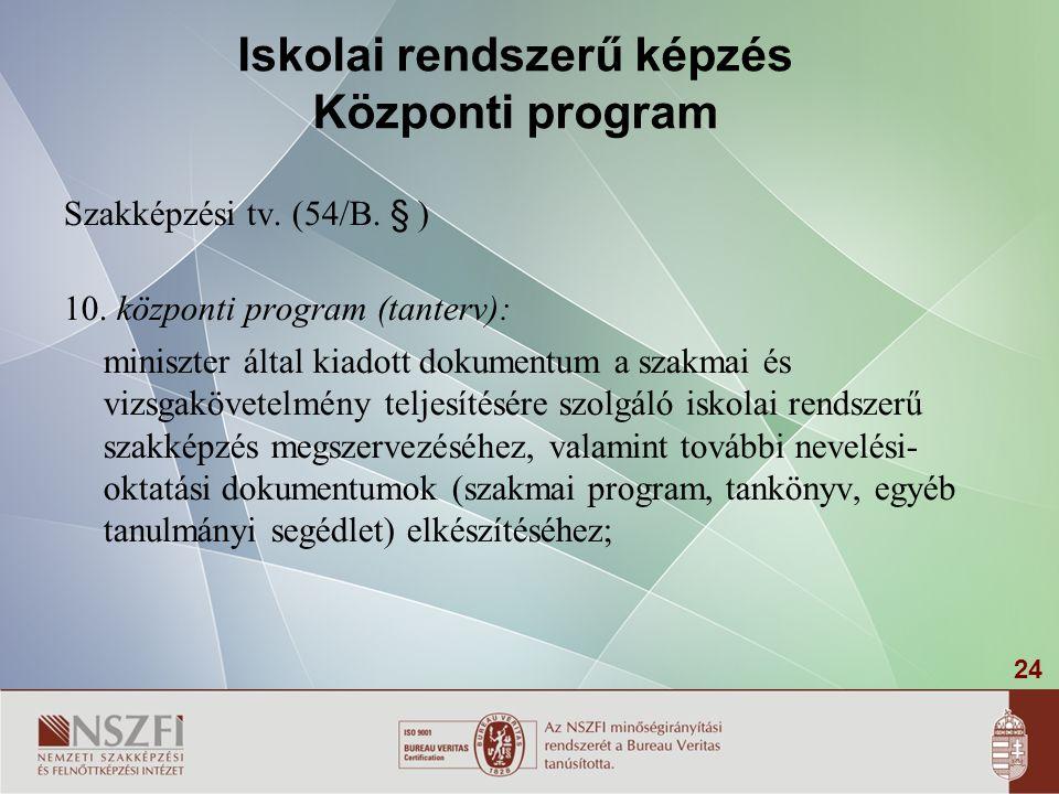 24 Iskolai rendszerű képzés Központi program Szakképzési tv. (54/B. § ) 10. központi program (tanterv): miniszter által kiadott dokumentum a szakmai é