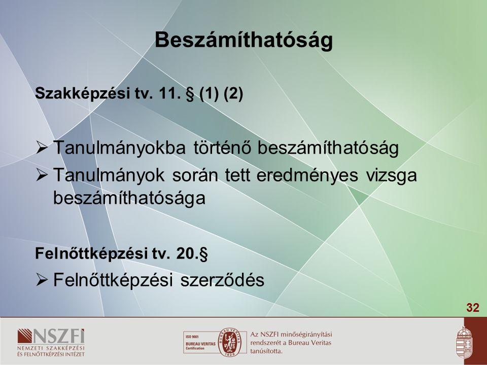 32 Beszámíthatóság Szakképzési tv. 11. § (1) (2)  Tanulmányokba történő beszámíthatóság  Tanulmányok során tett eredményes vizsga beszámíthatósága F