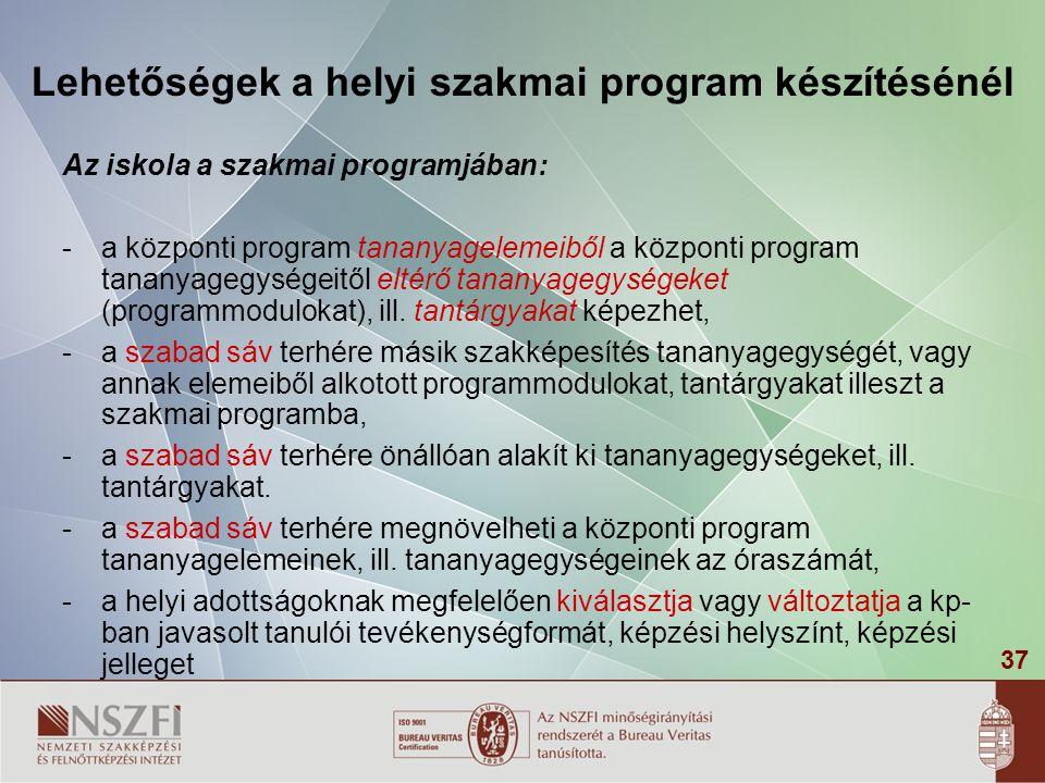 37 Lehetőségek a helyi szakmai program készítésénél Az iskola a szakmai programjában: -a központi program tananyagelemeiből a központi program tananyagegységeitől eltérő tananyagegységeket (programmodulokat), ill.
