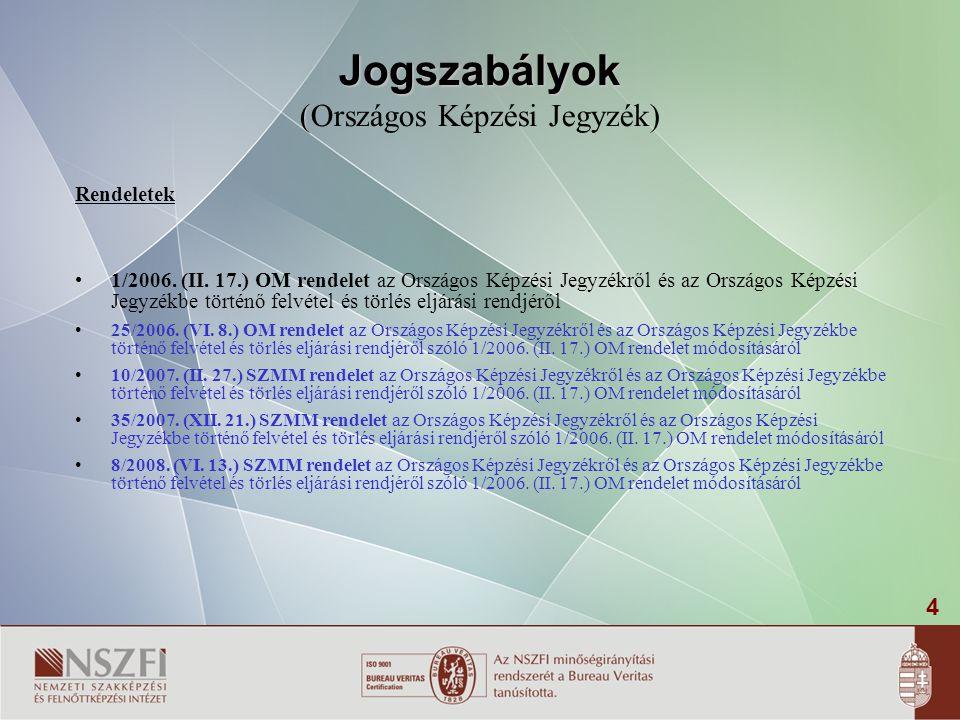 4 Jogszabályok ( Jogszabályok (Országos Képzési Jegyzék) Rendeletek •1/2006. (II. 17.) OM rendelet az Országos Képzési Jegyzékről és az Országos Képzé