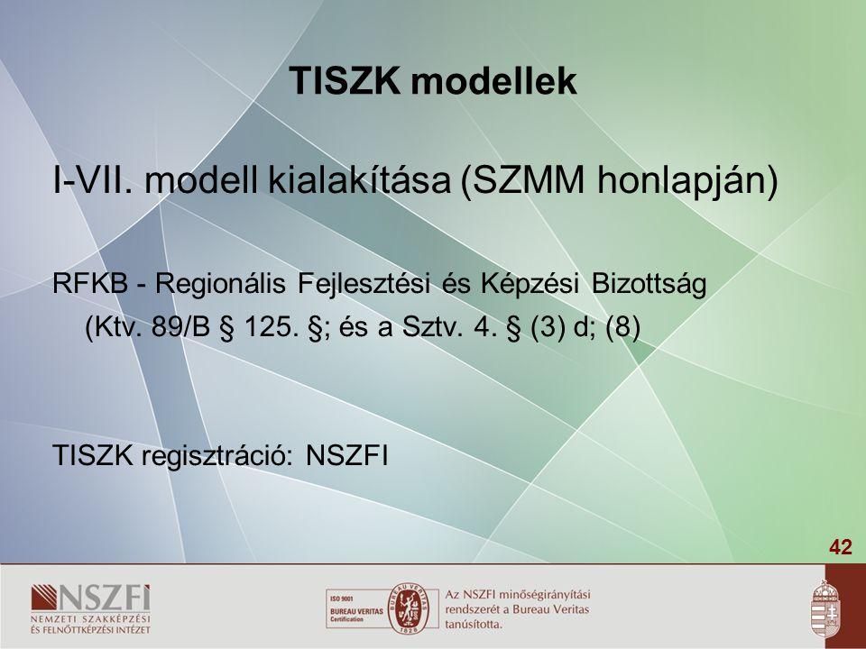 42 TISZK modellek I-VII. modell kialakítása (SZMM honlapján) RFKB - Regionális Fejlesztési és Képzési Bizottság (Ktv. 89/B § 125. §; és a Sztv. 4. § (