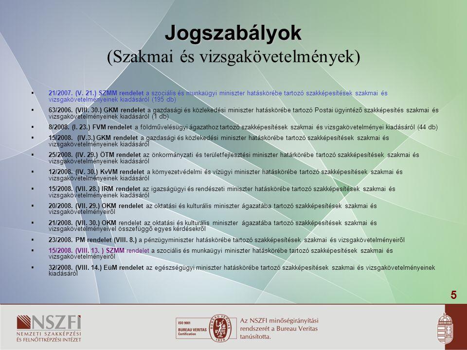 5 Jogszabályok Jogszabályok (Szakmai és vizsgakövetelmények)  21/2007. (V. 21.) SZMM rendelet a szociális és munkaügyi miniszter hatáskörébe tartozó