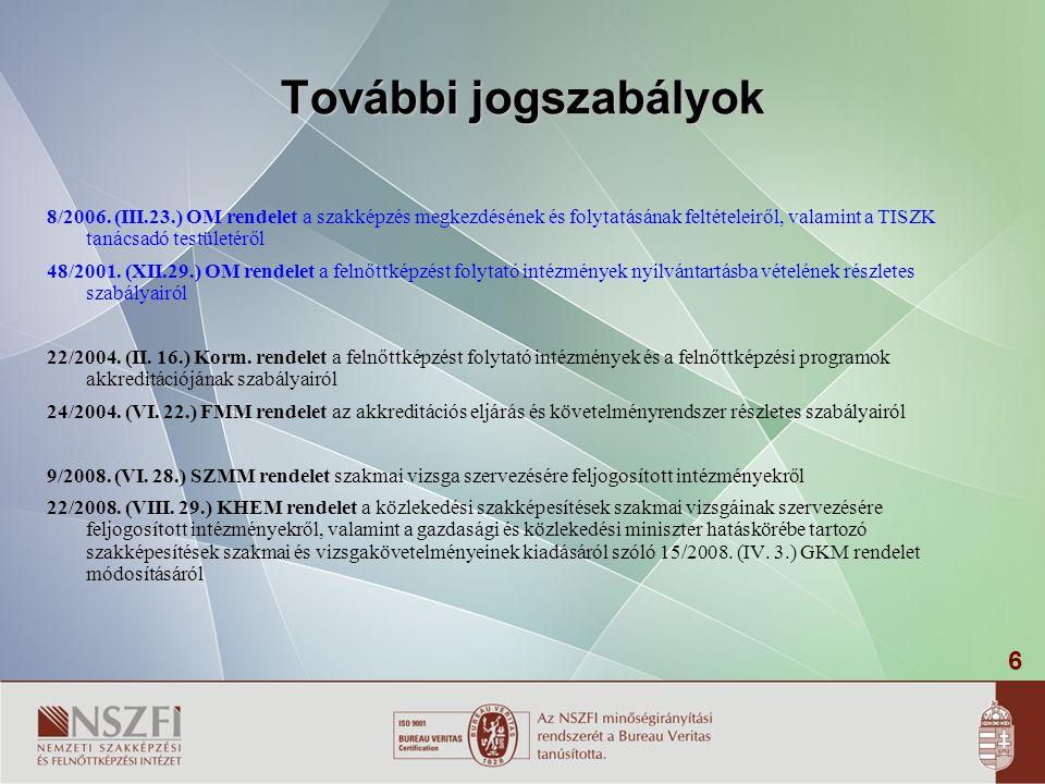 6 További jogszabályok 8/2006. (III.23.) OM rendelet a szakképzés megkezdésének és folytatásának feltételeiről, valamint a TISZK tanácsadó testületérő