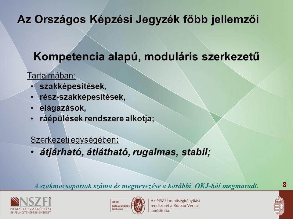8 Az Országos Képzési Jegyzék főbb jellemzői Kompetencia alapú, moduláris szerkezetű Tartalmában: • szakképesítések, • rész-szakképesítések, • elágazá