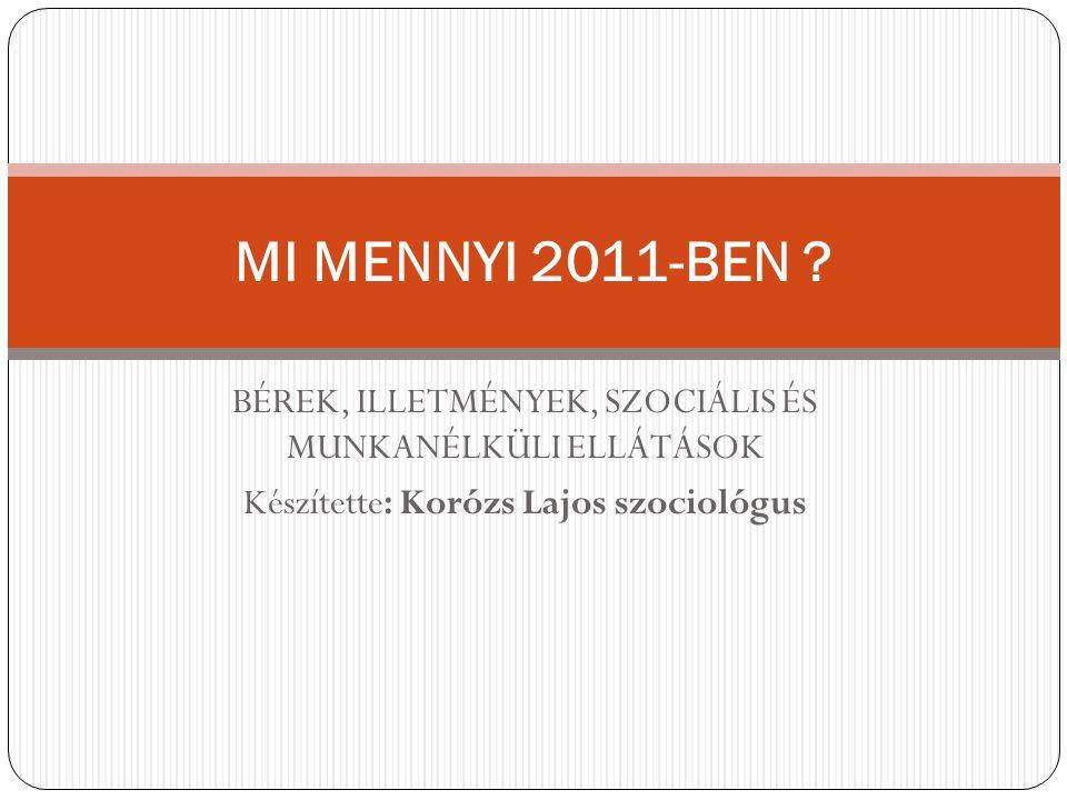 BÉREK, ILLETMÉNYEK, SZOCIÁLIS ÉS MUNKANÉLKÜLI ELLÁTÁSOK Készítette: Korózs Lajos szociológus MI MENNYI 2011-BEN ?