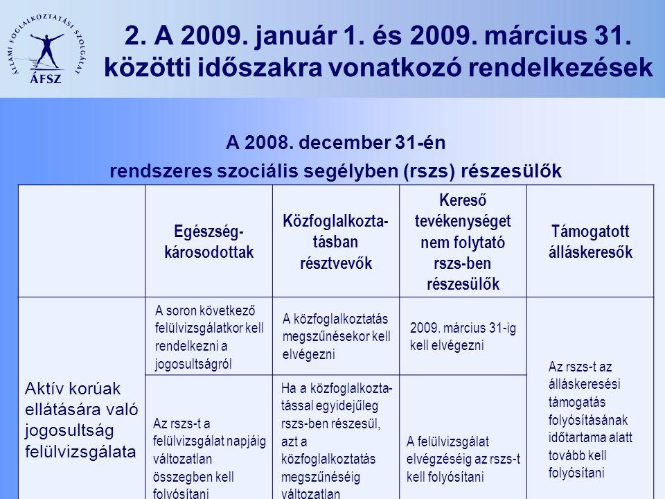 6 2. A 2009. január 1. és 2009. március 31. közötti időszakra vonatkozó rendelkezések A 2008.