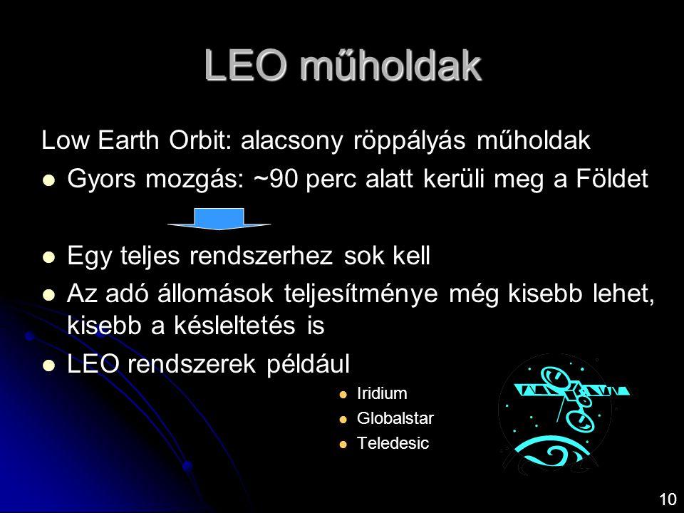 10 Low Earth Orbit: alacsony röppályás műholdak   Gyors mozgás: ~90 perc alatt kerüli meg a Földet   Egy teljes rendszerhez sok kell   Az adó ál
