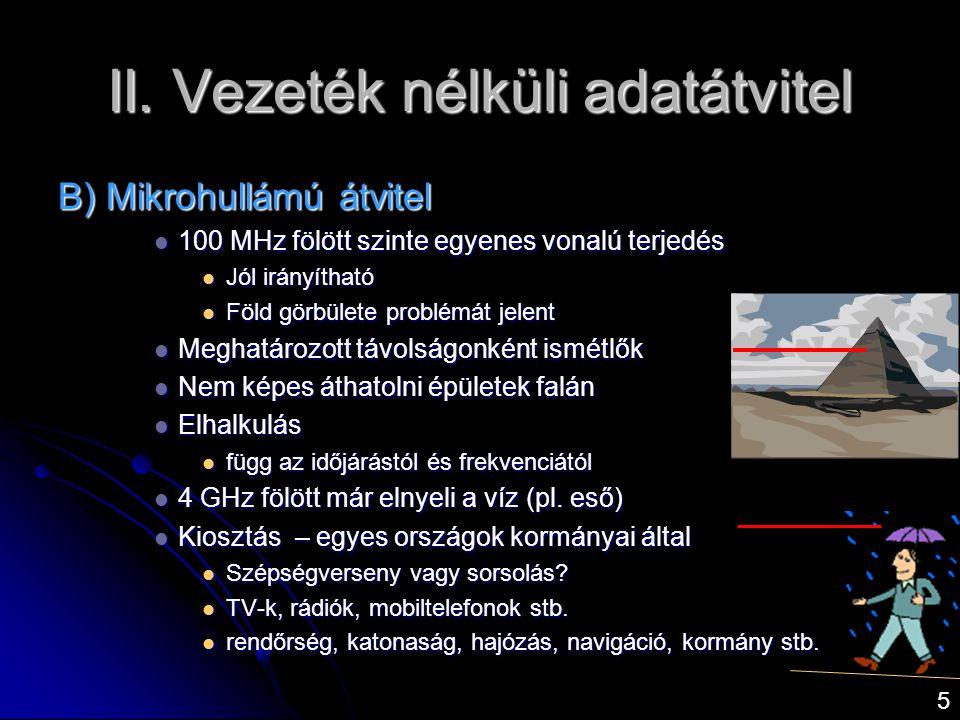 II. Vezeték nélküli adatátvitel B) Mikrohullámú átvitel  100 MHz fölött szinte egyenes vonalú terjedés  Jól irányítható  Föld görbülete problémát j