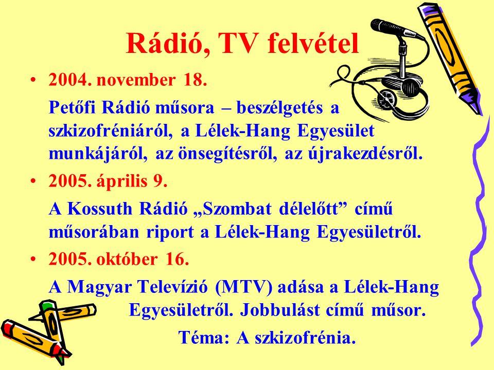 Rádió, TV felvétel •2004. november 18. Petőfi Rádió műsora – beszélgetés a szkizofréniáról, a Lélek-Hang Egyesület munkájáról, az önsegítésről, az újr