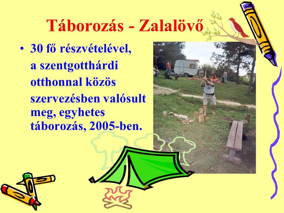 Táborozás - Zalalövő •30 fő részvételével, a szentgotthárdi otthonnal közös szervezésben valósult meg, egyhetes táborozás, 2005-ben.