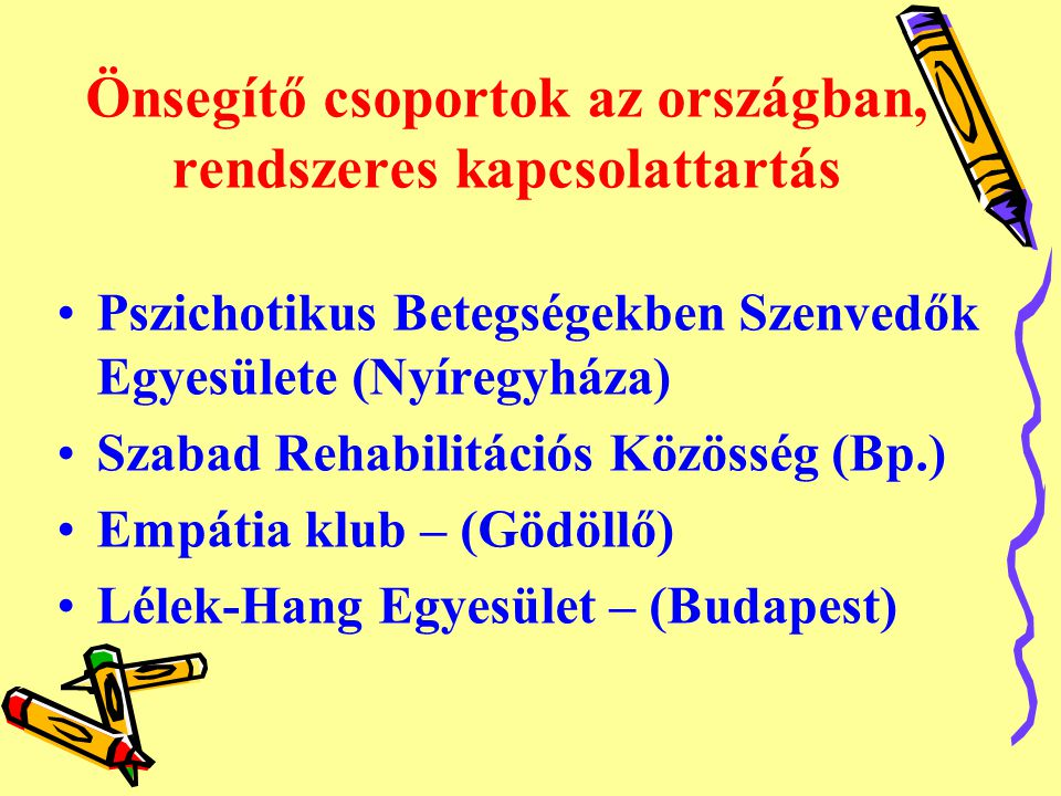 Önsegítő csoportok az országban, rendszeres kapcsolattartás •Pszichotikus Betegségekben Szenvedők Egyesülete (Nyíregyháza) •Szabad Rehabilitációs Közösség (Bp.) •Empátia klub – (Gödöllő) •Lélek-Hang Egyesület – (Budapest)