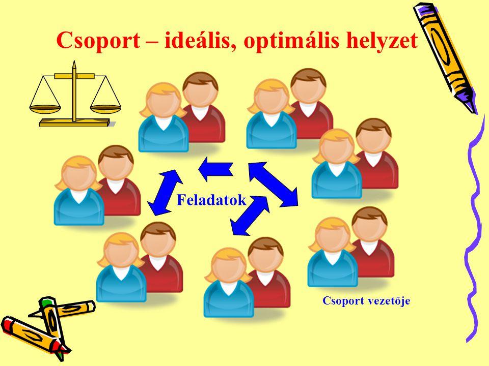 Csoport – ideális, optimális helyzet Csoport vezetője Feladatok