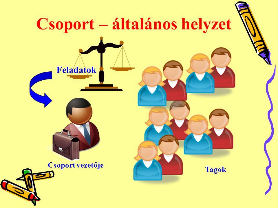 Csoport – általános helyzet Csoport vezetője Feladatok Tagok