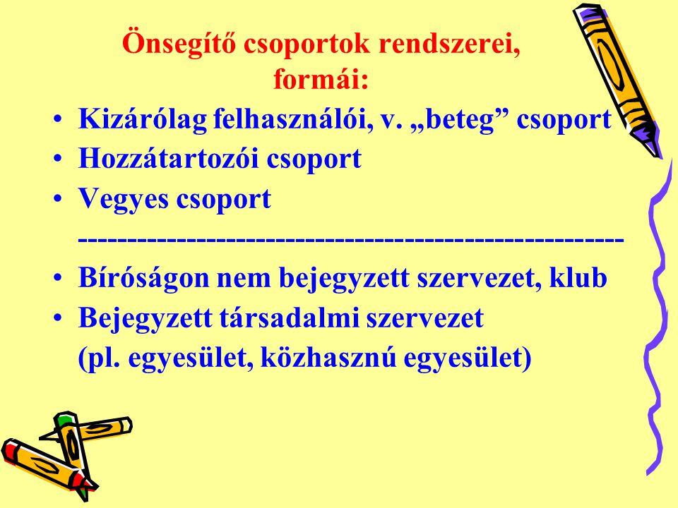 Önsegítő csoportok rendszerei, formái: •Kizárólag felhasználói, v.