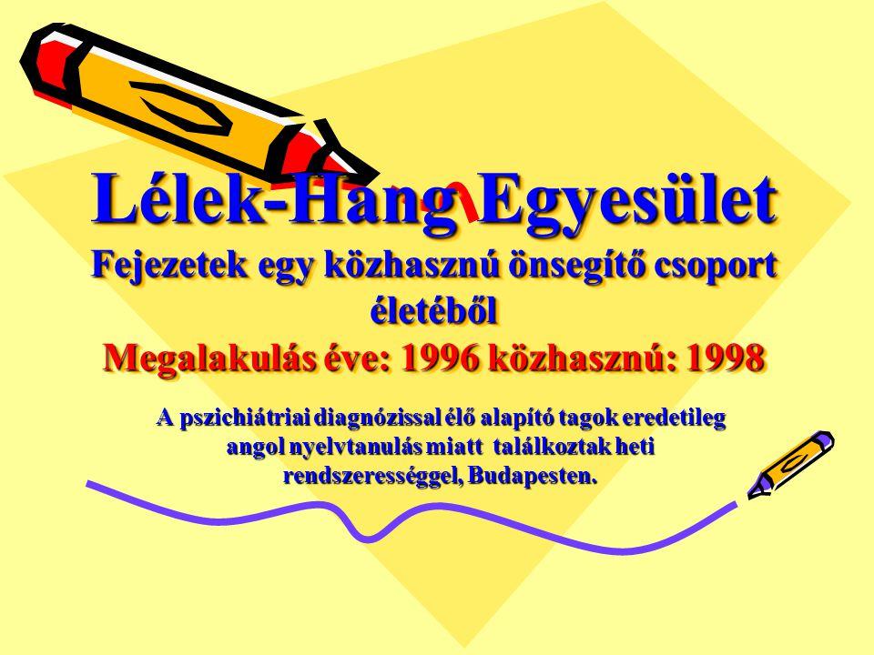 Lélek-Hang Egyesület Fejezetek egy közhasznú önsegítő csoport életéből Megalakulás éve: 1996 közhasznú: 1998 A pszichiátriai diagnózissal élő alapító tagok eredetileg angol nyelvtanulás miatt találkoztak heti rendszerességgel, Budapesten.